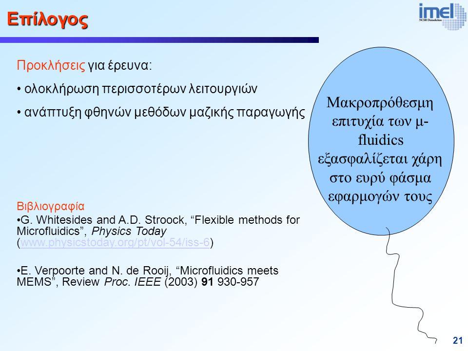 21 Μακροπρόθεσμη επιτυχία των μ- fluidics εξασφαλίζεται χάρη στο ευρύ φάσμα εφαρμογών τους Προκλήσεις για έρευνα: ολοκλήρωση περισσοτέρων λειτουργιών ανάπτυξη φθηνών μεθόδων μαζικής παραγωγής Επίλογος Βιβλιογραφία G.