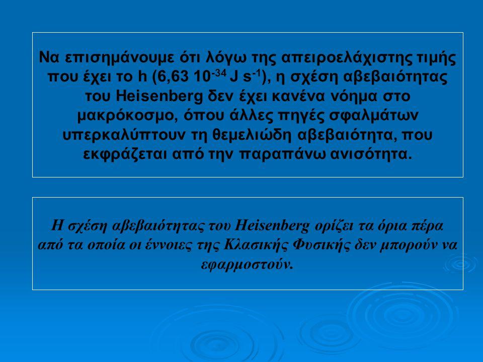 αρχή απροσδιοριστίας  Αν υποθέσουμε ότι γνωρίζουμε με απόλυτη ακρίβεια τη θέση ενός μικρού σωματιδίου, δηλαδή Δx=0, τότε έχουμε απόλυτη άγνοια για τη