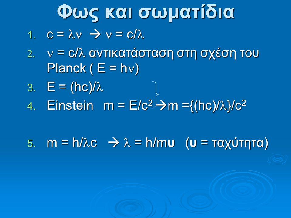 Φως και σωματίδια 1.c =  = c/ 1.