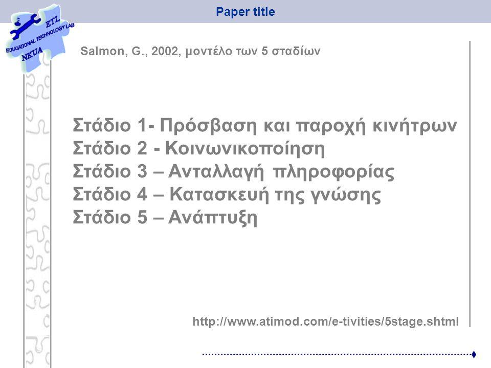 Paper title Στάδιο 1- Πρόσβαση και παροχή κινήτρων Στάδιο 2 - Κοινωνικοποίηση Στάδιο 3 – Ανταλλαγή πληροφορίας Στάδιο 4 – Κατασκευή της γνώσης Στάδιο