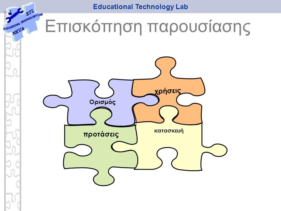 Educational Technology Lab χρήσεις κατασκευή Ορισμός προτάσεις Επισκόπηση παρουσίασης