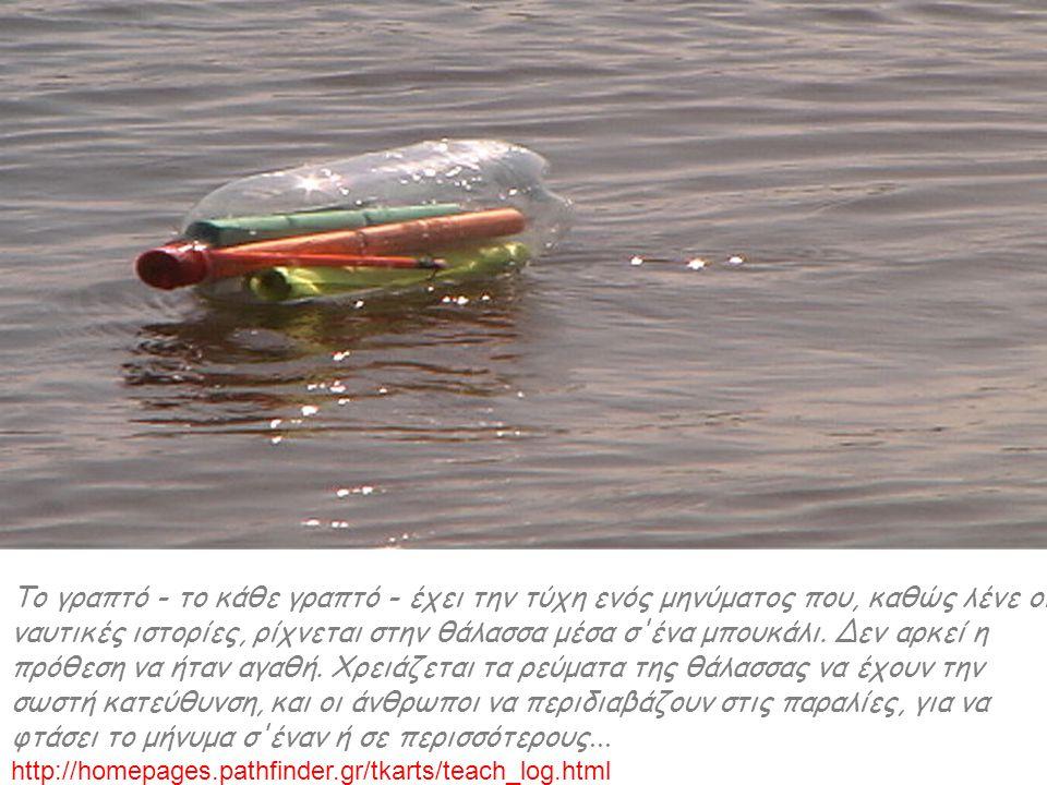 Το γραπτό - το κάθε γραπτό - έχει την τύχη ενός μηνύματος που, καθώς λένε οι ναυτικές ιστορίες, ρίχνεται στην θάλασσα μέσα σ'ένα μπουκάλι. Δεν αρκεί η