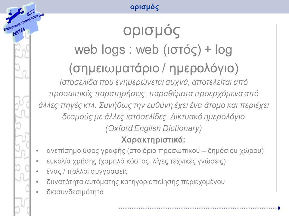 Paper title προέλευση τέλη δεκαετίας '90, ΗΠΑ 2003: Η Google αγοράζει το blogger (ειδικό λογισμικό κατασκευής weblogs) 2004 (Nοέμβριος): 100 στην Ελλάδα 2005 (Φεβρουάριος): 1000 καθημερινά δημιουργούνται 12.000 κυριότερες γλώσσες: αγγλικά, πορτογαλικά, γαλλικά, περσικά