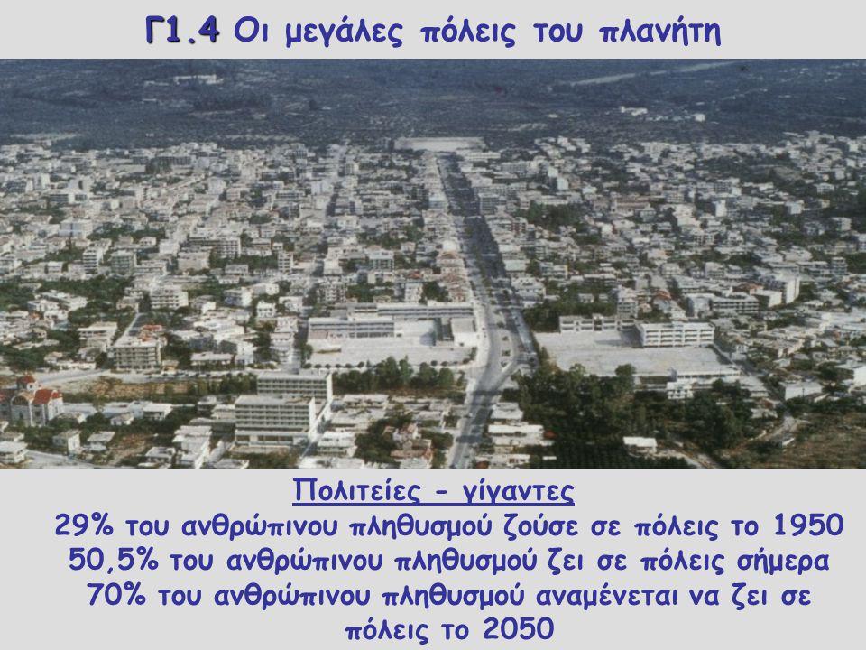 Γ1.4 Γ1.4 Οι μεγάλες πόλεις του πλανήτη Πόλη ονομάζεται μια περιοχή στην οποία παρατηρείται πιο μεγάλη συγκέντρωση ανθρώπων απότι στις υπόλοιπες περιο