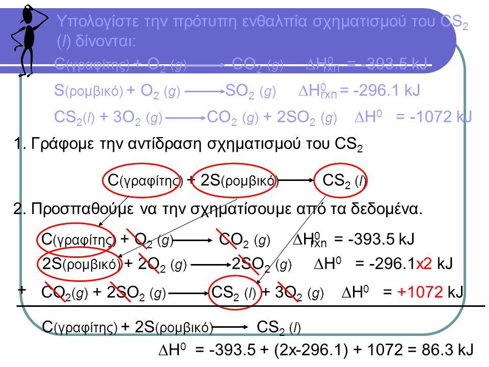 Υπολογίστε την πρότυπη ενθαλπία σχηματισμού του CS 2 (l) δίνονται: C (γραφίτης) + O 2 (g) CO 2 (g)  H 0 = -393.5 kJ rxn S (ρομβικό) + O 2 (g) SO 2 (g)  H 0 = -296.1 kJ rxn CS 2 (l) + 3O 2 (g) CO 2 (g) + 2SO 2 (g)  H 0 = -1072 kJ 1.