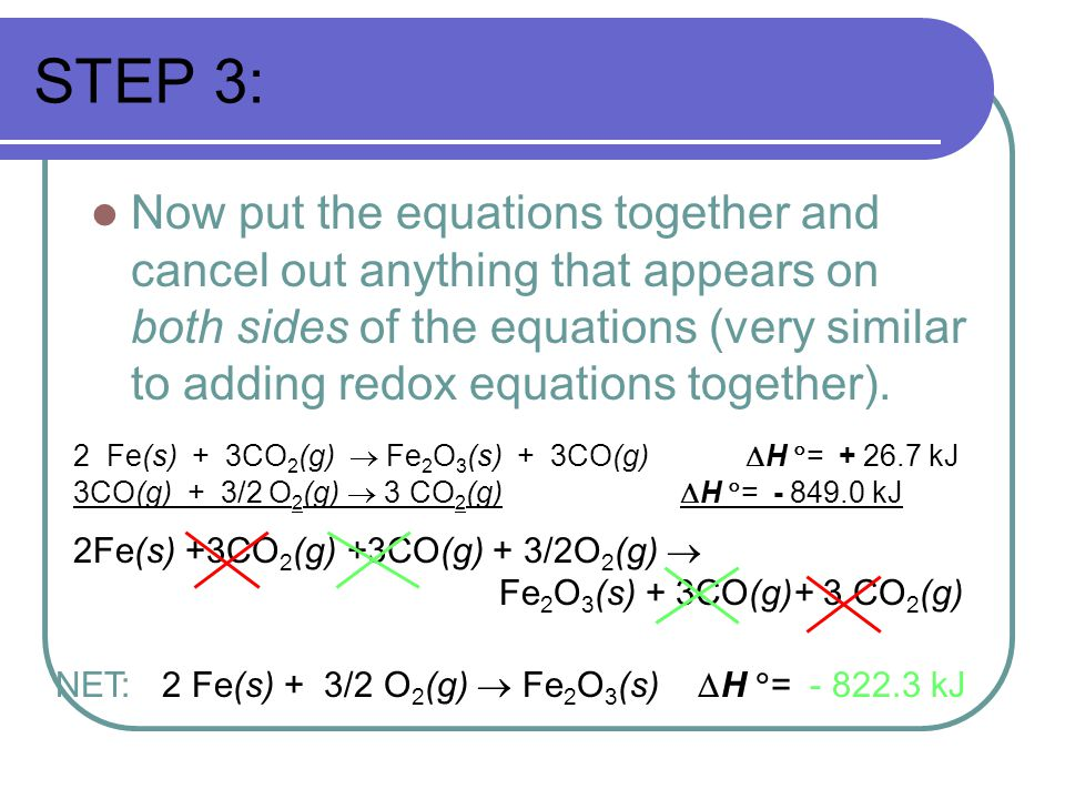 STEP 3: Now put the equations together and cancel out anything that appears on both sides of the equations (very similar to adding redox equations together).