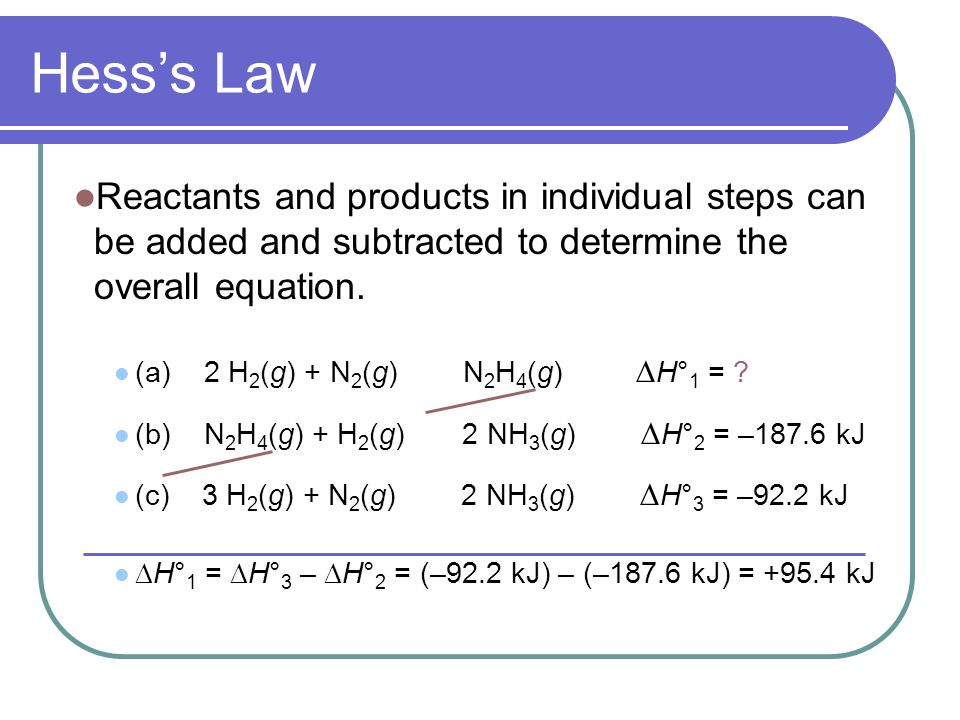 Hess's Law Reactants and products in individual steps can be added and subtracted to determine the overall equation.