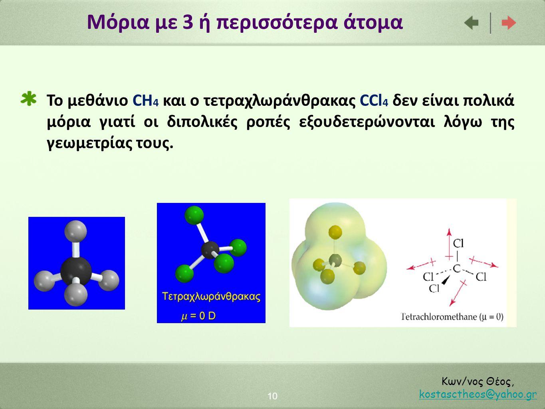 Μόρια με 3 ή περισσότερα άτομα 10 Κων/νος Θέος, kostasctheos@yahoo.gr kostasctheos@yahoo.gr Το μεθάνιο CH 4 και ο τετραχλωράνθρακας CCl 4 δεν είναι πο