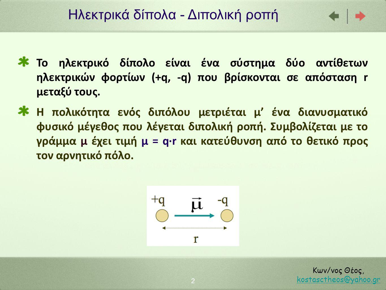 Ηλεκτρικά δίπολα - Διπολική ροπή 2 Κων/νος Θέος, kostasctheos@yahoo.gr kostasctheos@yahoo.gr Το ηλεκτρικό δίπολο είναι ένα σύστημα δύο αντίθετων ηλεκτ
