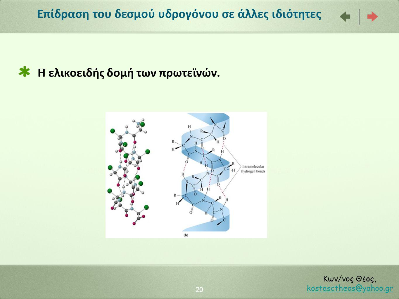 Επίδραση του δεσμού υδρογόνου σε άλλες ιδιότητες 20 Κων/νος Θέος, kostasctheos@yahoo.gr kostasctheos@yahoo.gr Η ελικοειδής δομή των πρωτεϊνών.