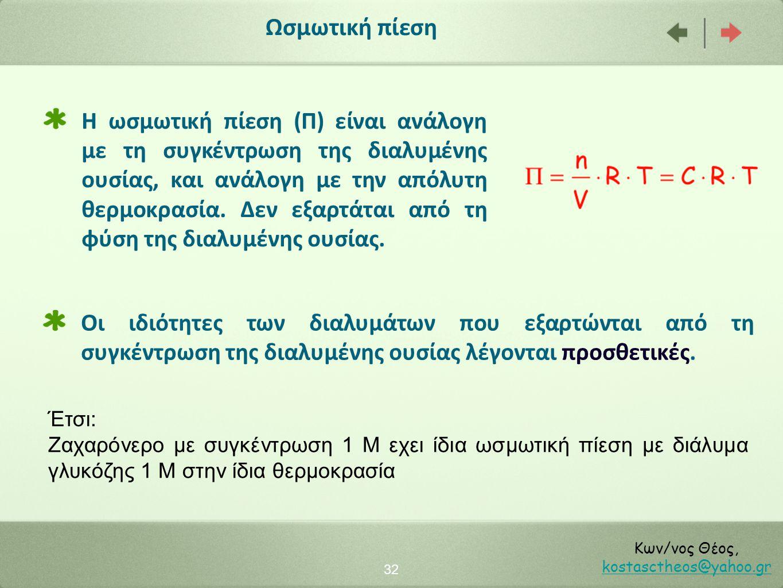 32 Κων/νος Θέος, kostasctheos@yahoo.gr kostasctheos@yahoo.gr Ωσμωτική πίεση Έτσι: Ζαχαρόνερο με συγκέντρωση 1 Μ εχει ίδια ωσμωτική πίεση με διάλυμα γλ