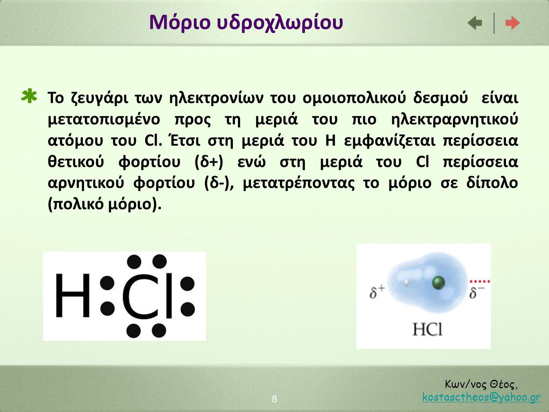 Μόρια με 3 ή περισσότερα άτομα 9 Κων/νος Θέος, kostasctheos@yahoo.gr kostasctheos@yahoo.gr Παίζει ρόλο η γεωμετρία του μορίου Το διοξείδιο του άνθρακα (CO 2 ) είναι μη πολικό, διότι τα άτομα βρίσκονται σε μια ευθεία και η συνισταμένη διπολική ροπή είναι μηδέν (οι δύο δεσμοί έχουν αντίθετες διπολικές ροπές)