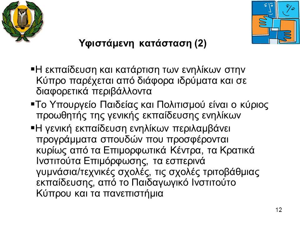 12 Υφιστάμενη κατάσταση (2)  Η εκπαίδευση και κατάρτιση των ενηλίκων στην Κύπρο παρέχεται από διάφορα ιδρύματα και σε διαφορετικά περιβάλλοντα  Το Υ