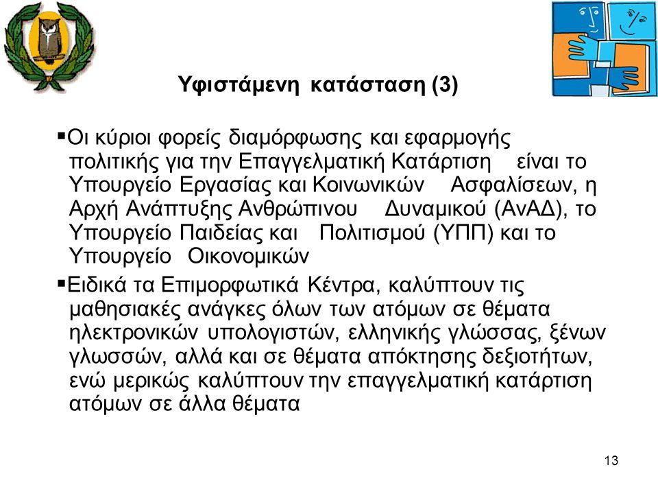13 Υφιστάμενη κατάσταση (3)  Οι κύριοι φορείς διαμόρφωσης και εφαρμογής πολιτικής για την Επαγγελματική Κατάρτιση είναι το Υπουργείο Εργασίας και Κοι