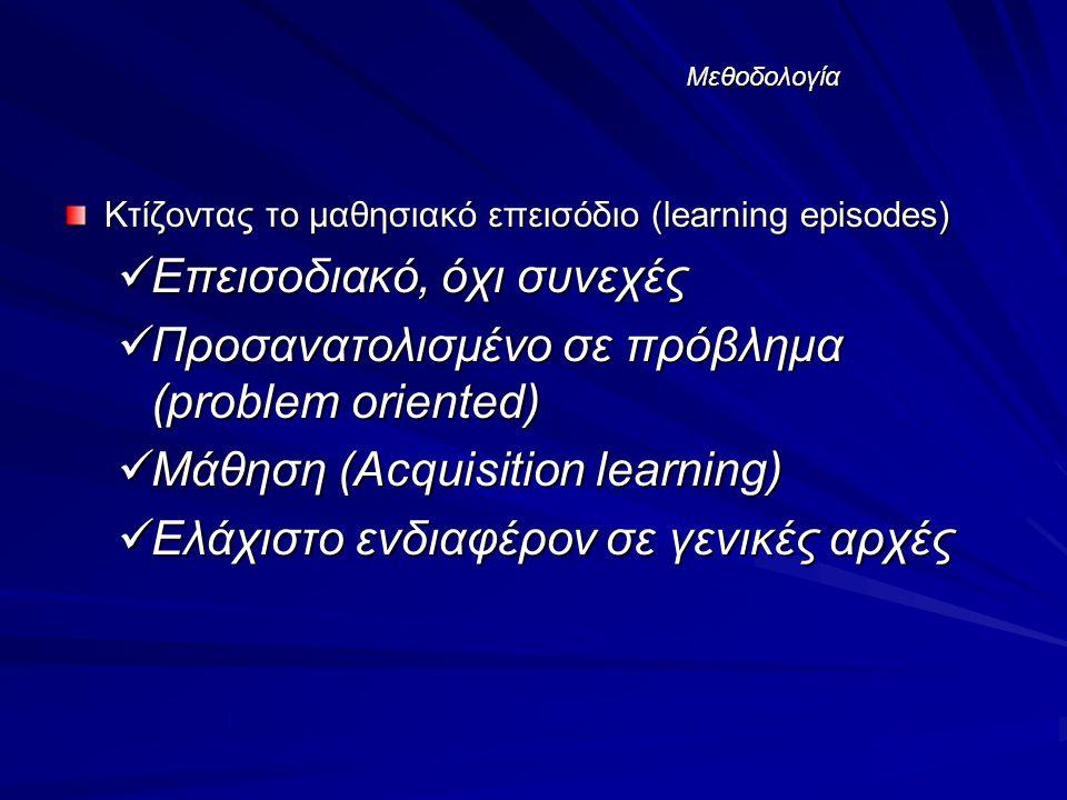 Μεθοδολογία Κτίζοντας το μαθησιακό επεισόδιο (learning episodes) Επεισοδιακό, όχι συνεχές Επεισοδιακό, όχι συνεχές Προσανατολισμένο σε πρόβλημα (problem oriented) Προσανατολισμένο σε πρόβλημα (problem oriented) Μάθηση (Acquisition learning) Μάθηση (Acquisition learning) Ελάχιστο ενδιαφέρον σε γενικές αρχές Ελάχιστο ενδιαφέρον σε γενικές αρχές