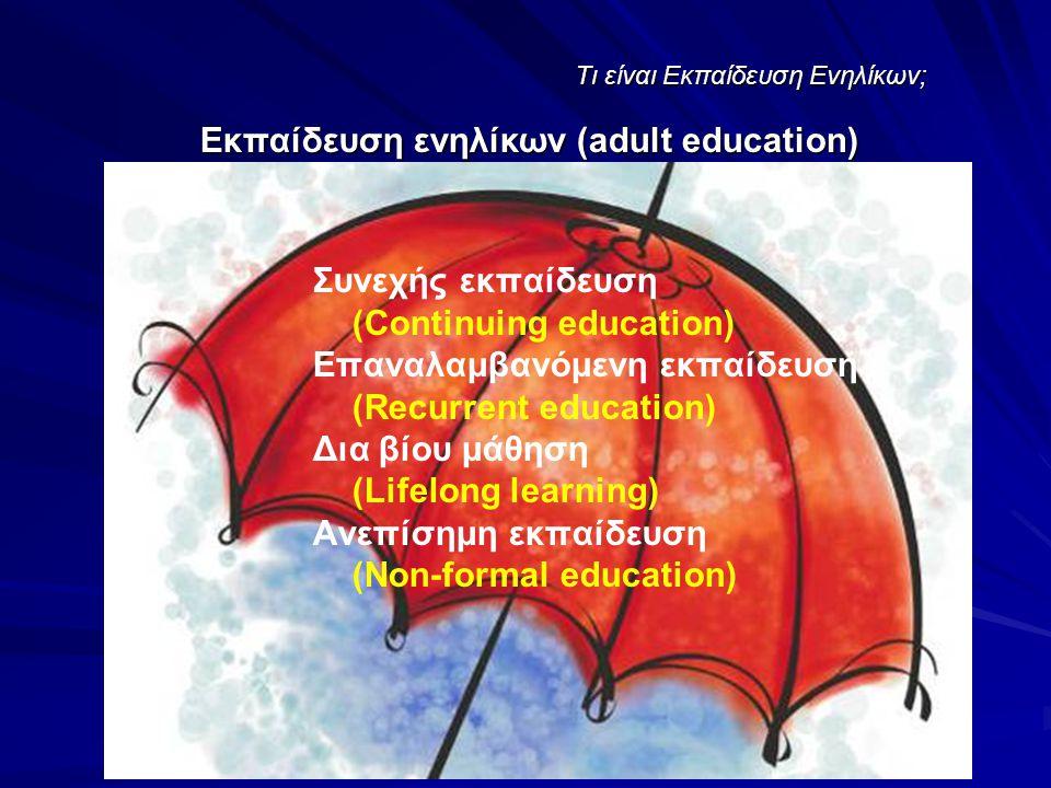Tι είναι Εκπαίδευση Ενηλίκων; Συνεχής εκπαίδευση (Continuing education) Επαναλαμβανόμενη εκπαίδευση (Recurrent education) Δια βίου μάθηση (Lifelong learning) Ανεπίσημη εκπαίδευση (Non-formal education) Εκπαίδευση ενηλίκων (adult education)