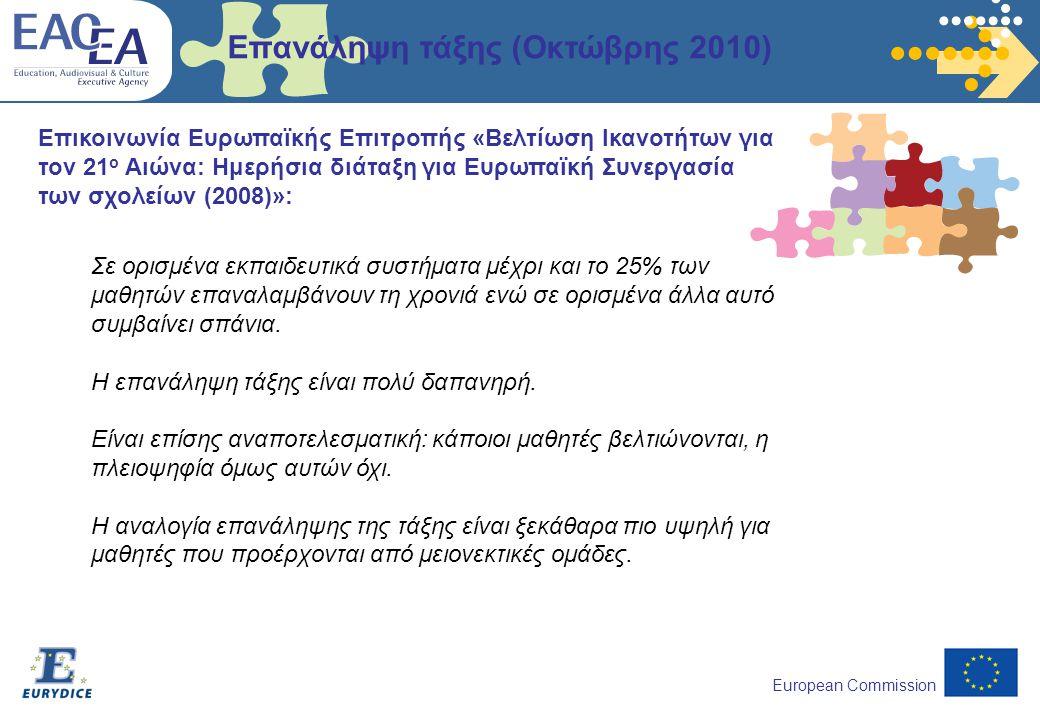 European Commission Επικοινωνία Ευρωπαϊκής Επιτροπής «Βελτίωση Ικανοτήτων για τον 21 ο Αιώνα: Ημερήσια διάταξη για Ευρωπαϊκή Συνεργασία των σχολείων (2008)»: Επανάληψη τάξης (Οκτώβρης 2010) Σε ορισμένα εκπαιδευτικά συστήματα μέχρι και το 25% των μαθητών επαναλαμβάνουν τη χρονιά ενώ σε ορισμένα άλλα αυτό συμβαίνει σπάνια.