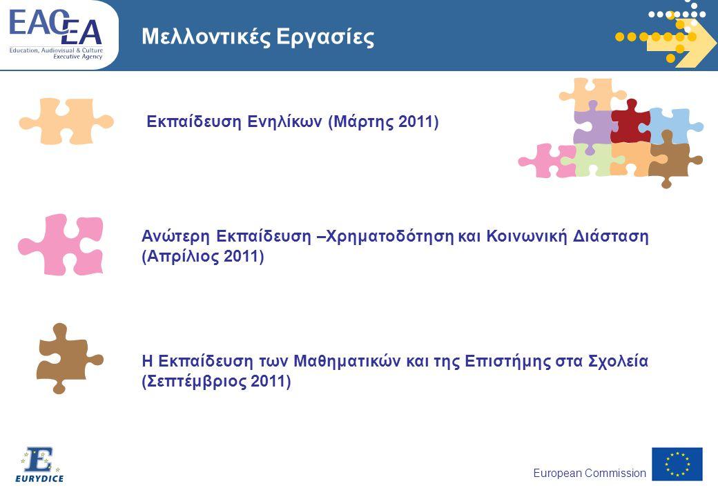 European Commission Μελλοντικές Εργασίες Εκπαίδευση Ενηλίκων (Μάρτης 2011) Η Εκπαίδευση των Μαθηματικών και της Επιστήμης στα Σχολεία (Σεπτέμβριος 2011) Ανώτερη Εκπαίδευση –Χρηματοδότηση και Κοινωνική Διάσταση (Απρίλιος 2011)