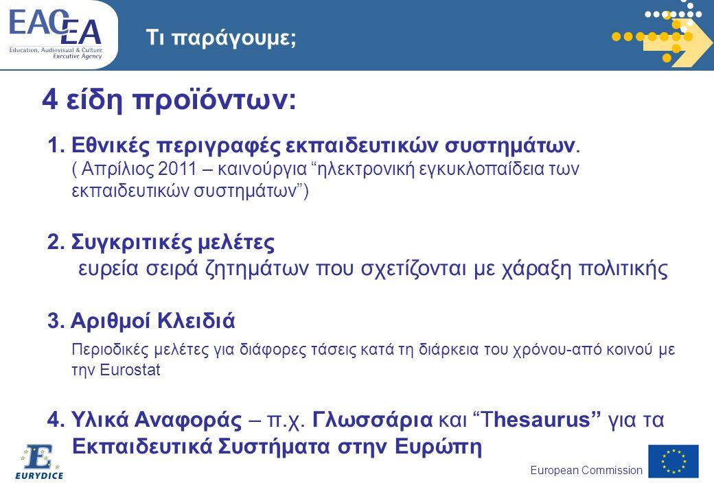 European Commission 4 είδη προϊόντων: 1. Εθνικές περιγραφές εκπαιδευτικών συστημάτων.
