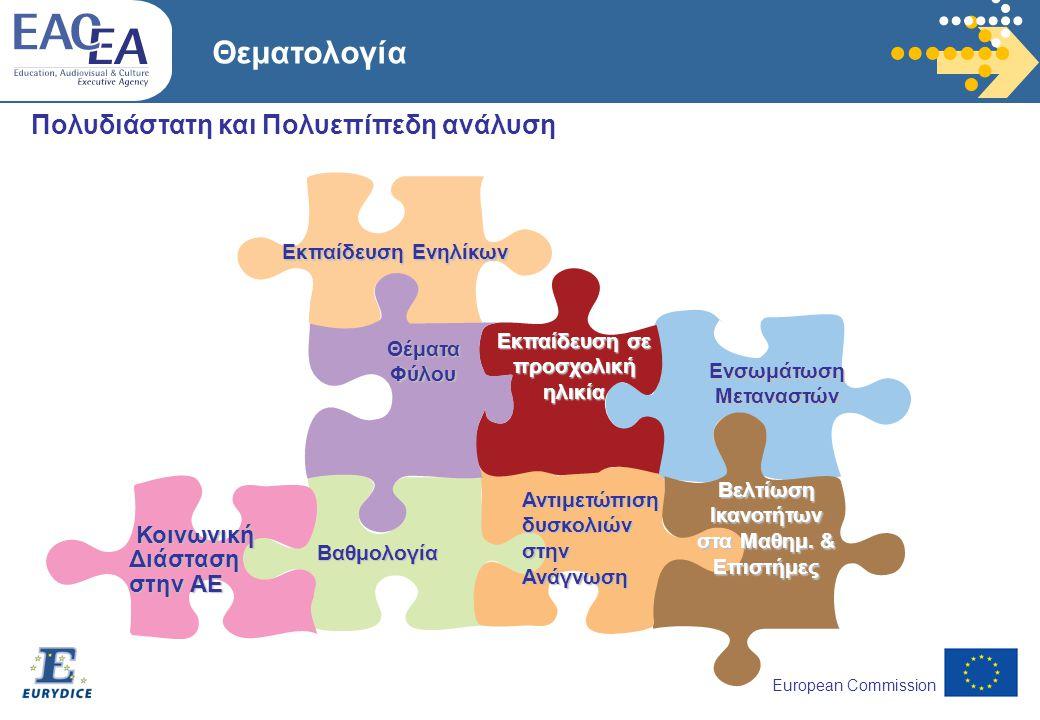 European Commission Θεματολογία Πολυδιάστατη και Πολυεπίπεδη ανάλυση Βαθμολογία Ενσωμάτωση Μεταναστών Εκπαίδευση Ενηλίκων Αντιμετώπιση δυσκολιών στην Ανάγνωση Θέματα Φύλου Εκπαίδευση σε προσχολική ηλικία Κοινωνική Διάσταση στην ΑΕ Βελτίωση Ικανοτήτων στα Μαθημ.