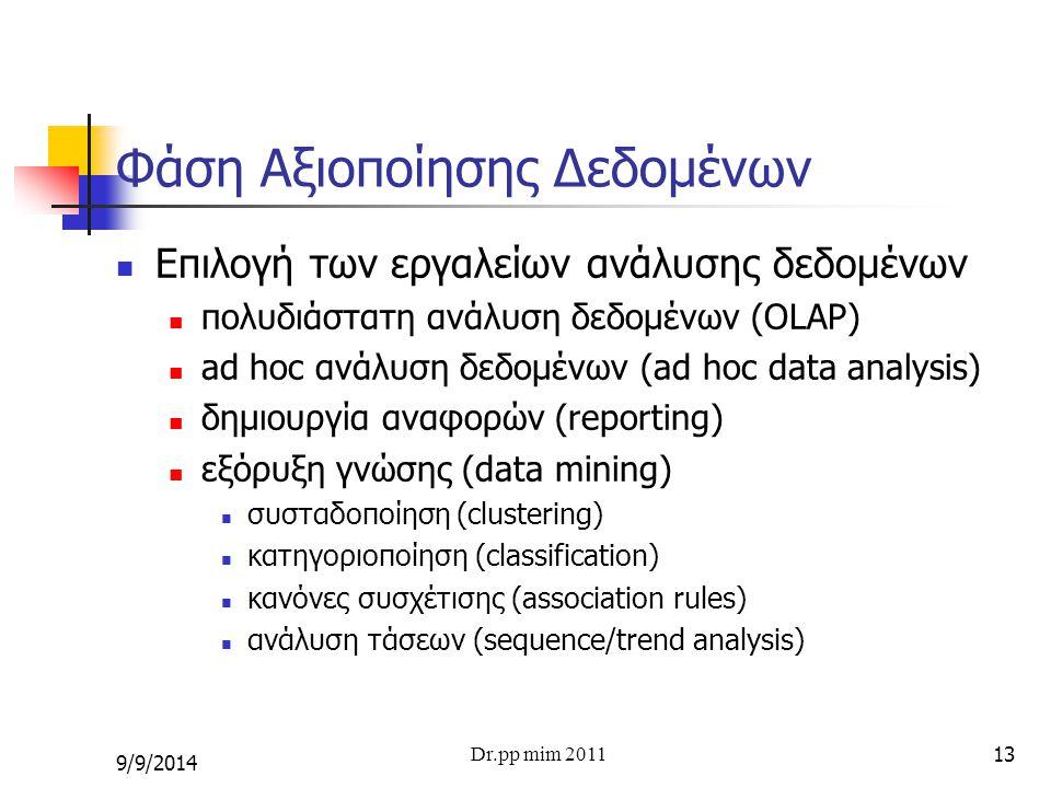 13 Φάση Αξιοποίησης Δεδομένων Επιλογή των εργαλείων ανάλυσης δεδομένων πολυδιάστατη ανάλυση δεδομένων (OLAP) ad hoc ανάλυση δεδομένων (ad hoc data ana