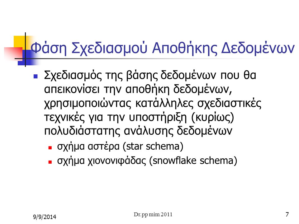 8 Αρχιτεκτονική Συστημάτων ΕΕ (2) Design of Extract, Transform Creation of Data Data Warehouse Loading (ETL) OLAP Cubes Analysis Design of Extract, Transform Creation of Data Data Warehouse Loading (ETL) OLAP Cubes Analysis Data Marts and cubes DataWarehouse SourceSystems Clients 134 Query Tools ReportingAnalysis Data Mining 2 Dr.pp mim 2011 9/9/2014