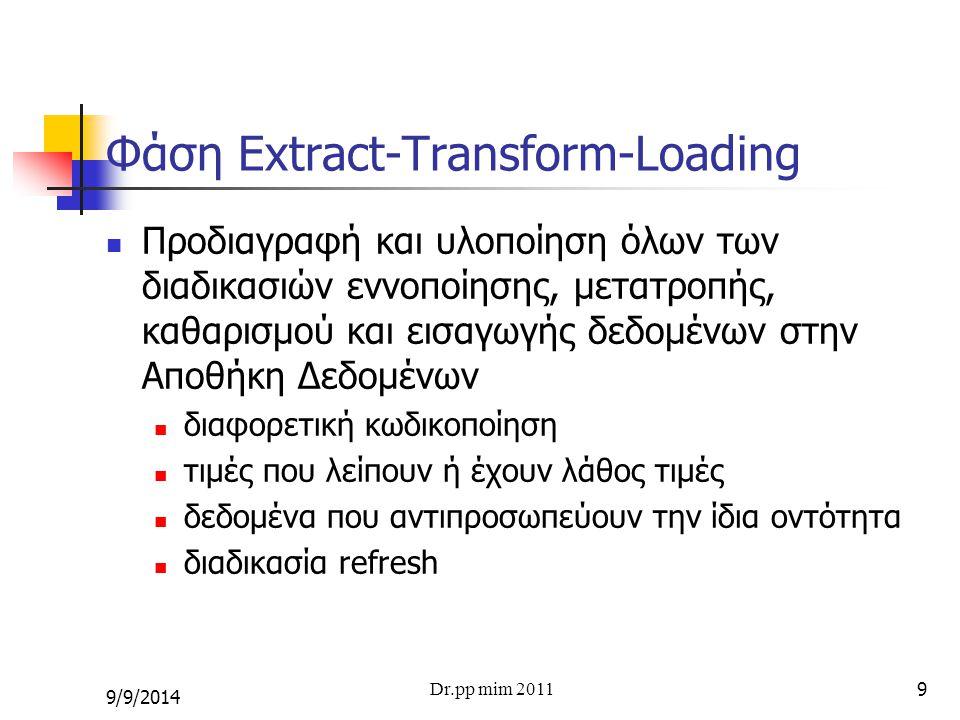 9 Φάση Extract-Transform-Loading Προδιαγραφή και υλοποίηση όλων των διαδικασιών εννοποίησης, μετατροπής, καθαρισμού και εισαγωγής δεδομένων στην Αποθή