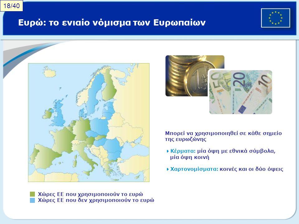 Ευρώ: το ενιαίο νόμισμα των Ευρωπαίων Χώρες ΕΕ που χρησιμοποιούν το ευρώ Χώρες ΕΕ που δεν χρησιμοποιούν το ευρώ Μπορεί να χρησιμοποιηθεί σε κάθε σημεί
