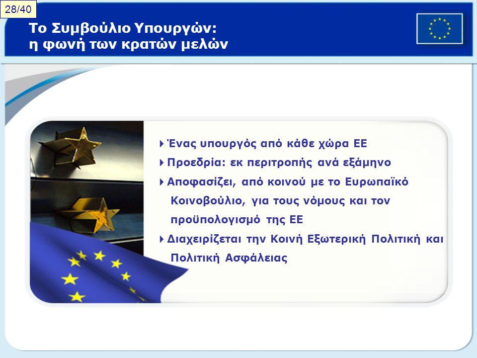Το Συμβούλιο Υπουργών: η φωνή των κρατών μελών  Ένας υπουργός από κάθε χώρα ΕΕ  Προεδρία: εκ περιτροπής ανά εξάμηνο  Αποφασίζει, από κοινού με το Ε