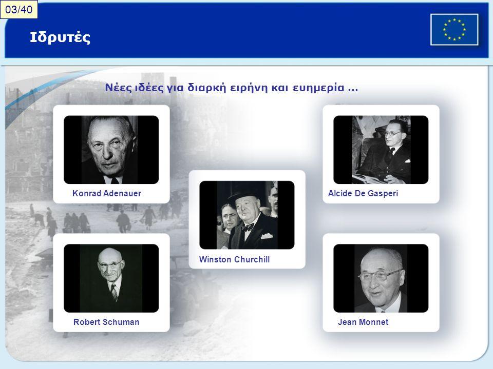 Ιδρυτές Νέες ιδέες για διαρκή ειρήνη και ευημερία … Konrad Adenauer Robert Schuman Winston Churchill Alcide De Gasperi Jean Monnet 03/40