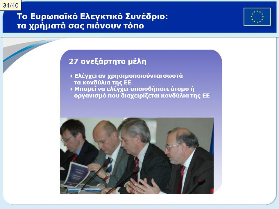 Το Ευρωπαϊκό Ελεγκτικό Συνέδριο: τα χρήματά σας πιάνουν τόπο 27 ανεξάρτητα μέλη  Ελέγχει αν χρησιμοποιούνται σωστά τα κονδύλια της ΕΕ  Μπορεί να ελέ