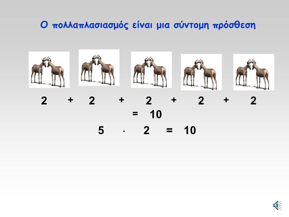 1  3 = 3 Στον πολλαπλασιασμό χρησιμοποιούμε τη λέξη φορές. 2  3 = 63  3 = 9