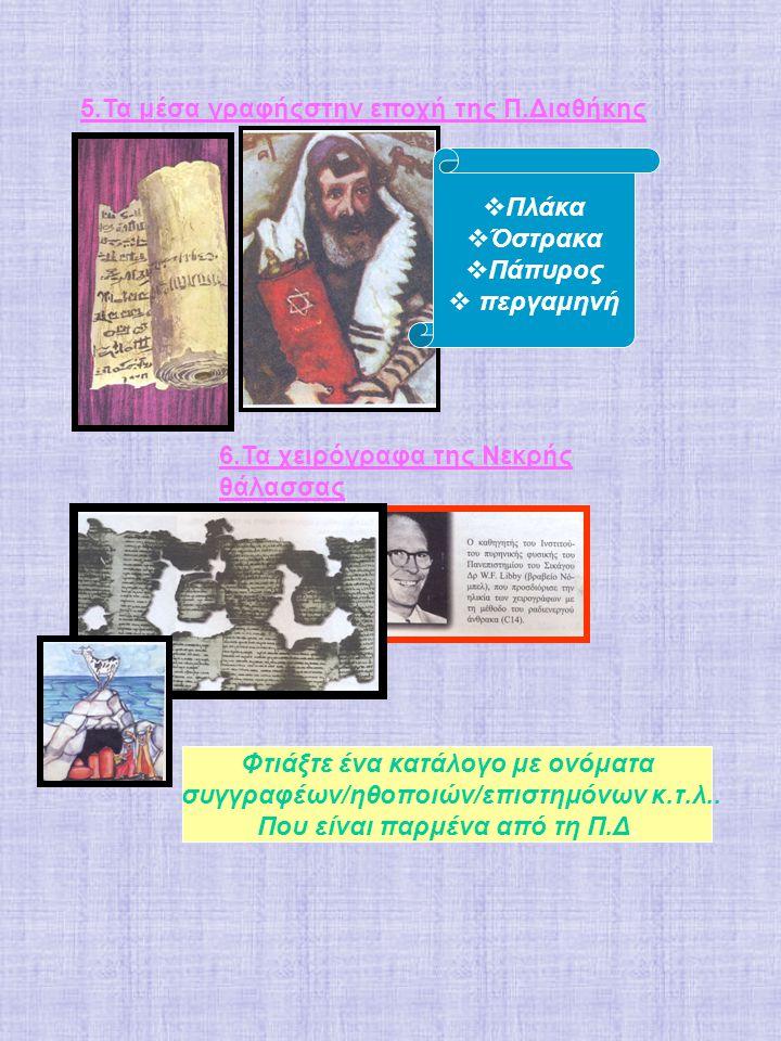 5.Τα μέσα γραφήςστην εποχή της Π.Διαθήκης  Πλάκα  Όστρακα  Πάπυρος  περγαμηνή 6.Τα χειρόγραφα της Νεκρής θάλασσας Φτιάξτε ένα κατάλογο με ονόματα συγγραφέων/ηθοποιών/επιστημόνων κ.τ.λ..