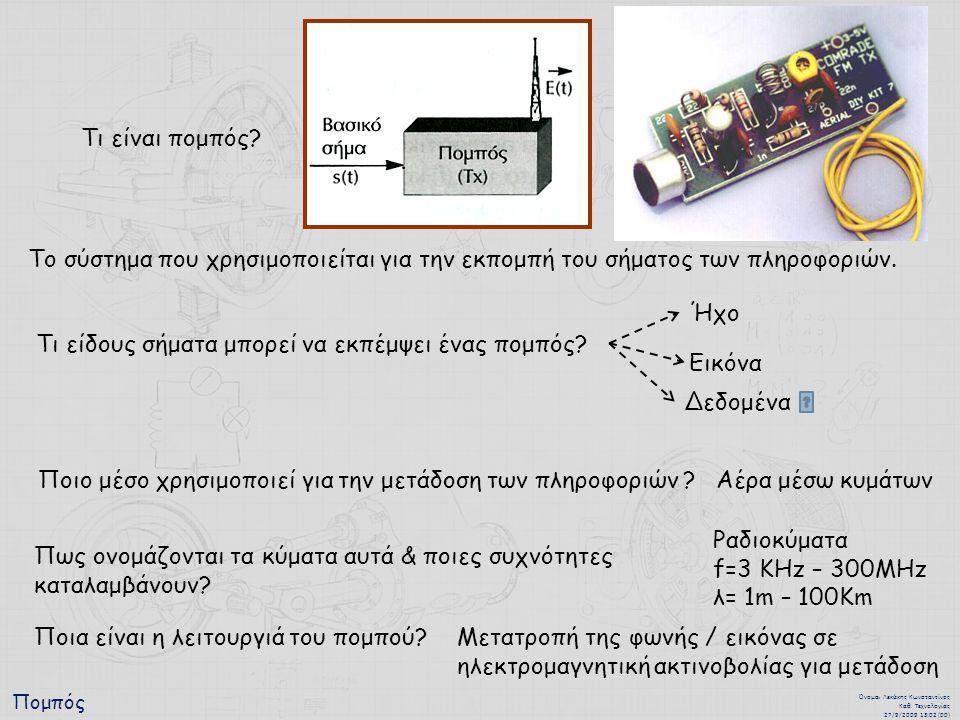 Πομπός Όνομα : Λεκάκης Κωνσταντίνος Καθ. Τεχνολογίας 27/9/2009 13:02 (00) Τι είναι πομπός.