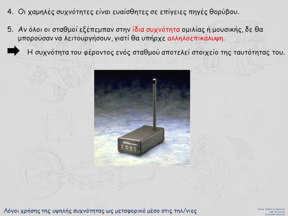 Λόγοι χρήσης της υψηλής συχνότητας ως μεταφορικό μέσο στις τηλ/νιες Όνομα : Λεκάκης Κωνσταντίνος Καθ.