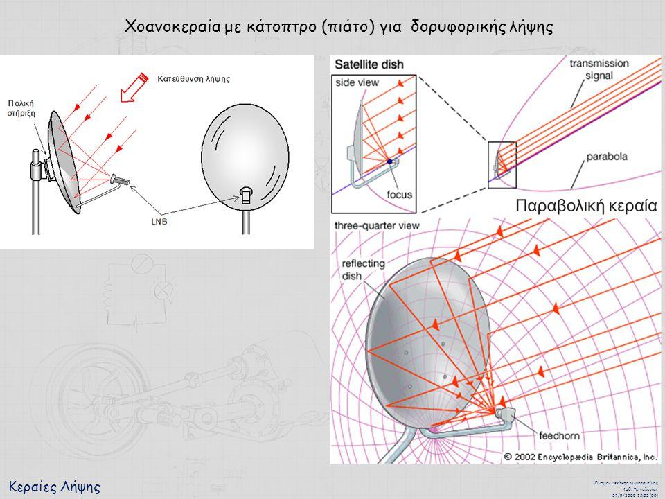 Κεραίες Λήψης Όνομα : Λεκάκης Κωνσταντίνος Καθ. Τεχνολογίας 27/9/2009 13:02 (00) Χοανοκεραία με κάτοπτρο (πιάτο) για δορυφορικής λήψης
