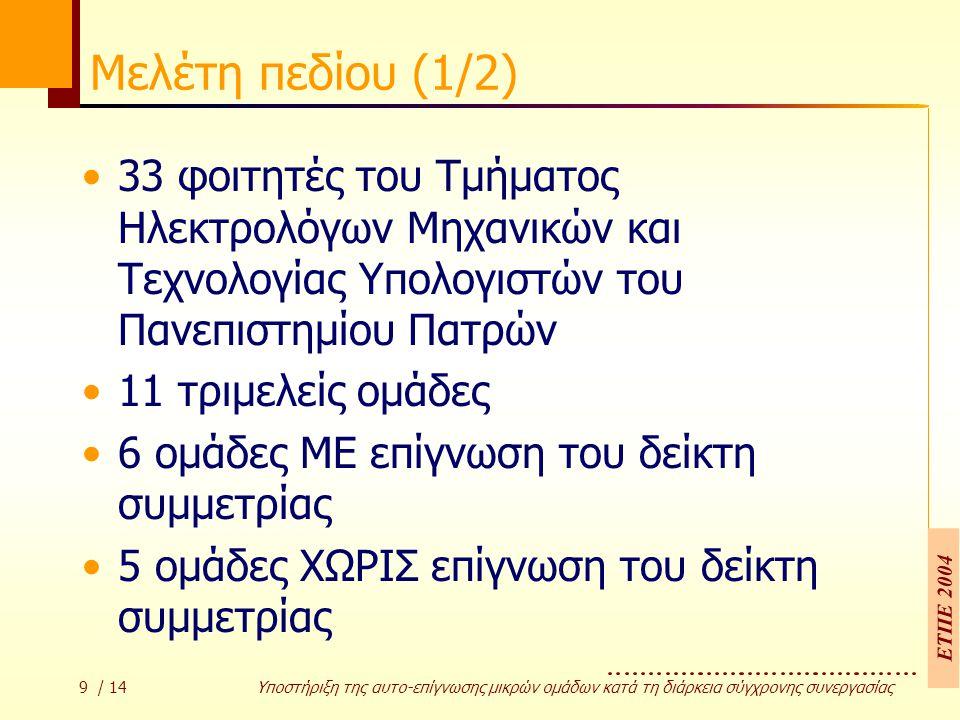 ΕΤΠΕ 2004 10 / 14 Υποστήριξη της αυτο-επίγνωσης µικρών οµάδων κατά τη διάρκεια σύγχρονης συνεργασίας Μελέτη πεδίου (2/2) Δραστηριότητα: Η αξιολόγηση ευχρηστίας συγκεκριμένου δικτυακού τόπου: –Δημιουργία διαγράμματος καταστάσεων (State Transition Diagram) –Επισύναψη ευχρηστικών προβλημάτων Στόχος της έρευνας: Η επίδραση της επίγνωσης του δείκτη στην ποιότητα της συνεργασίας