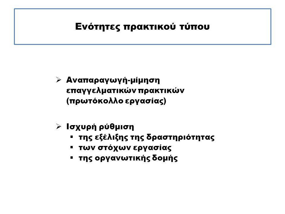 Ενότητες πρακτικού τύπου  Αναπαραγωγή-μίμηση επαγγελματικών πρακτικών (πρωτόκολλο εργασίας)  Ισχυρή ρύθμιση  της εξέλιξης της δραστηριότητας  των