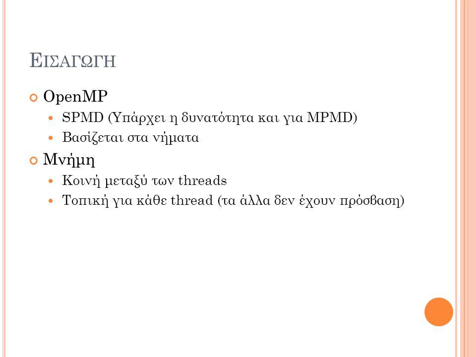 Ε ΙΣΑΓΩΓΗ OpenMP SPMD (Υπάρχει η δυνατότητα και για MPMD) Βασίζεται στα νήματα Μνήμη Κοινή μεταξύ των threads Τοπική για κάθε thread (τα άλλα δεν έχουν πρόσβαση)