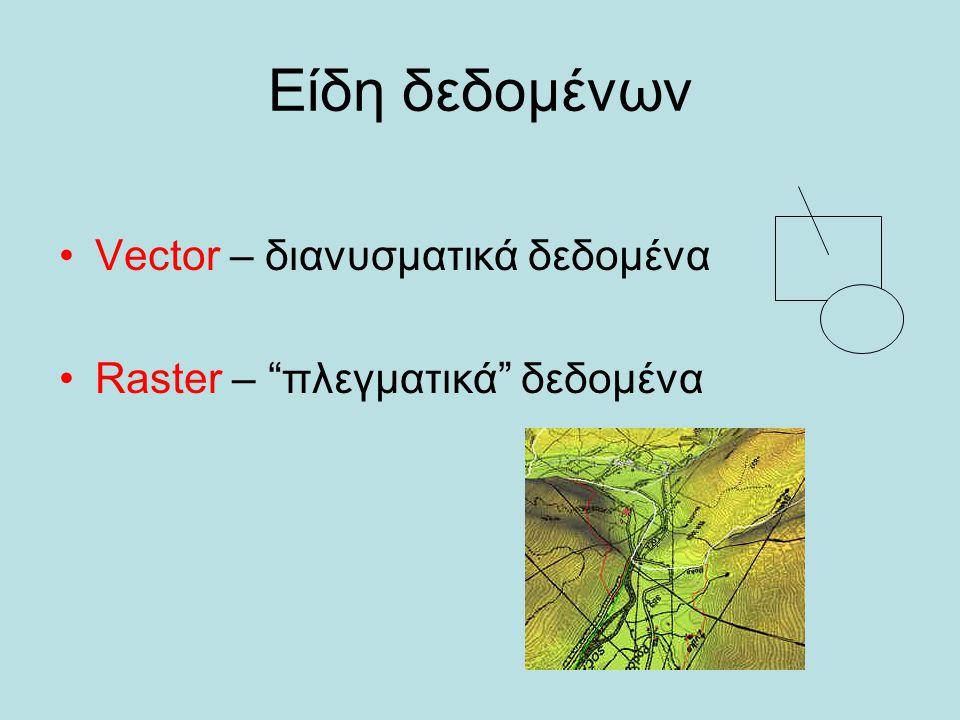 Είδη δεδομένων Vector – διανυσματικά δεδομένα Raster – πλεγματικά δεδομένα