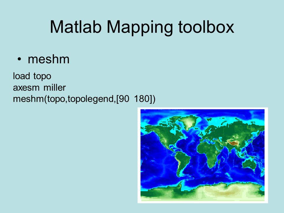 Matlab Mapping toolbox meshm load topo axesm miller meshm(topo,topolegend,[90 180])