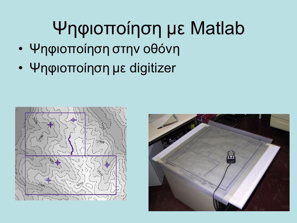 Ψηφιοποίηση με Matlab Ψηφιοποίηση στην οθόνη Ψηφιοποίηση με digitizer