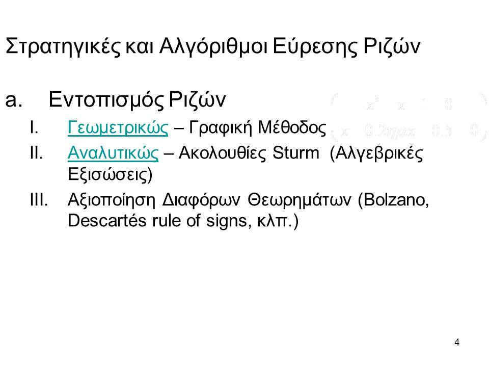 5 b.Αριθμητικοί Υπολογισμοί μιας ρίζας με επιθυμητή Ακρίβεια (Αλγόριθμοι): I.Μέθοδος Διχοτόμησης (Bisection Method) II.Εσφαλμένης Θέσης (Regula Falsi) III.Μέθοδος της χορδής (Secant Method) IV.Newton – Raphson V.Γενική Επαναληπτική Μέθοδος (Fixed Point Iteration) VI.Muller Στρατηγικές Εύρεσης Ριζών (Συνέχεια)