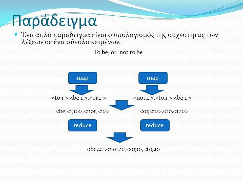 Παράδειγμα Ένα απλό παράδειγμα είναι ο υπολογισμός της συχνότητας των λέξεων σε ένα σύνολο κειμένων. To be, or map reduce,,,,,,, not to be >, >