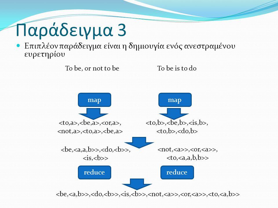 Παράδειγμα 3 Επιπλέον παράδειγμα είναι η δημιουγία ενός ανεστραμένου ευρετηρίου To be, or not to be map reduce,,,,, >, >, >, >, >, >,,,, >, >, > >, >, > To be is to do