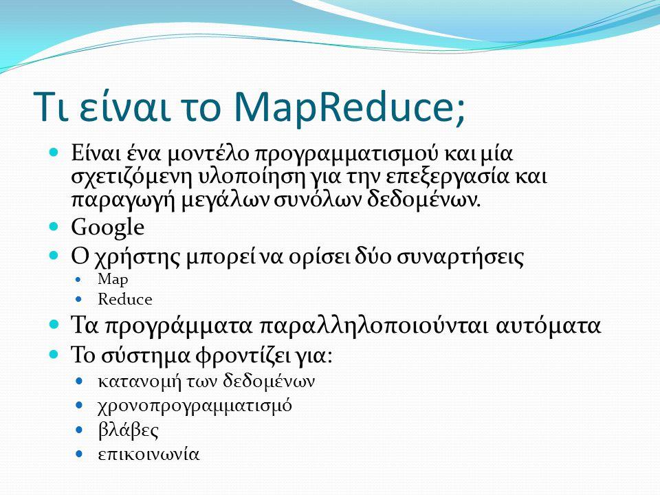 Τι είναι το MapReduce; Είναι ένα μοντέλο προγραμματισμού και μία σχετιζόμενη υλοποίηση για την επεξεργασία και παραγωγή μεγάλων συνόλων δεδομένων.