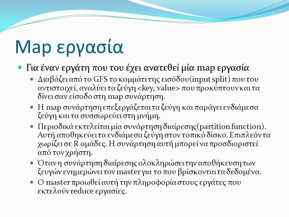 Map εργασία Για έναν εργάτη που του έχει ανατεθεί μία map εργασία Διαβάζει από το GFS το κομμάτι της εισόδου(input split) που του αντιστοιχεί, αναλύει
