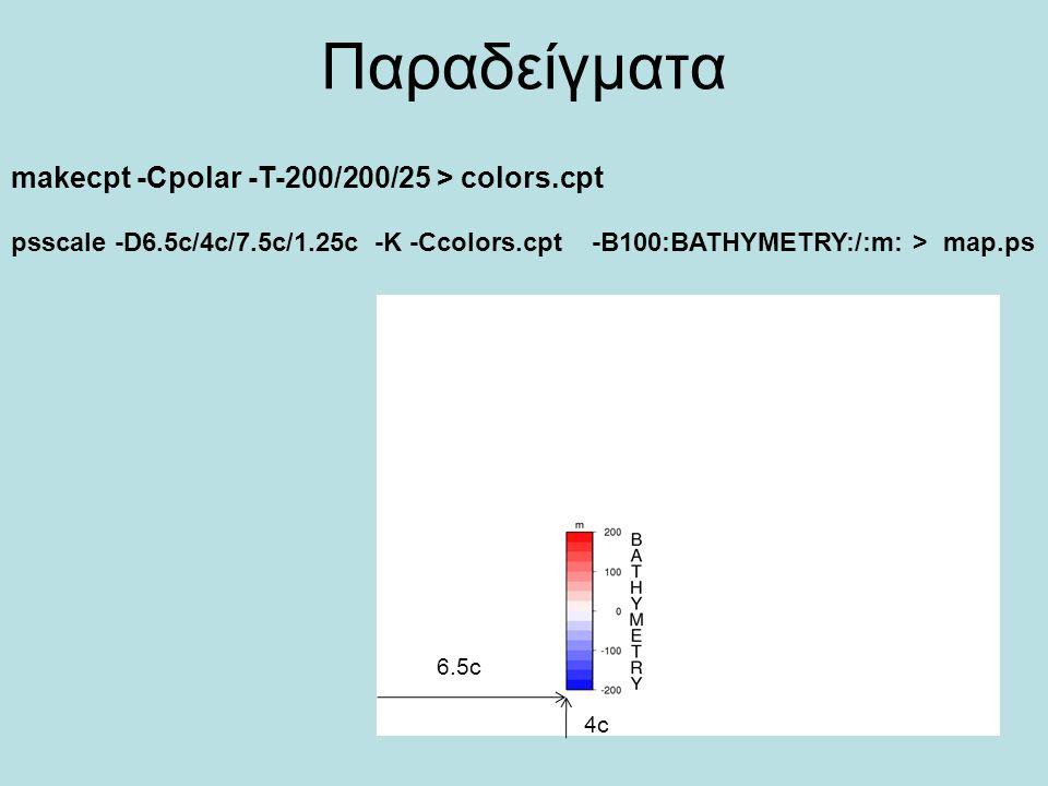 Παραδείγματα makecpt -Cpolar -T-200/200/25 > colors.cpt psscale -D6.5c/4c/7.5c/1.25c -K -Ccolors.cpt -B100:BATHYMETRY:/:m: > map.ps 6.5c 4c