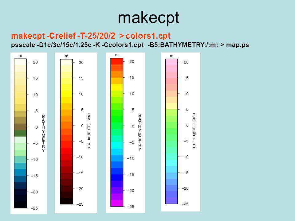 makecpt makecpt -Crelief -T-25/20/2 > colors1.cpt psscale -D1c/3c/15c/1.25c -K -Ccolors1.cpt -B5:BATHYMETRY:/:m: > map.ps