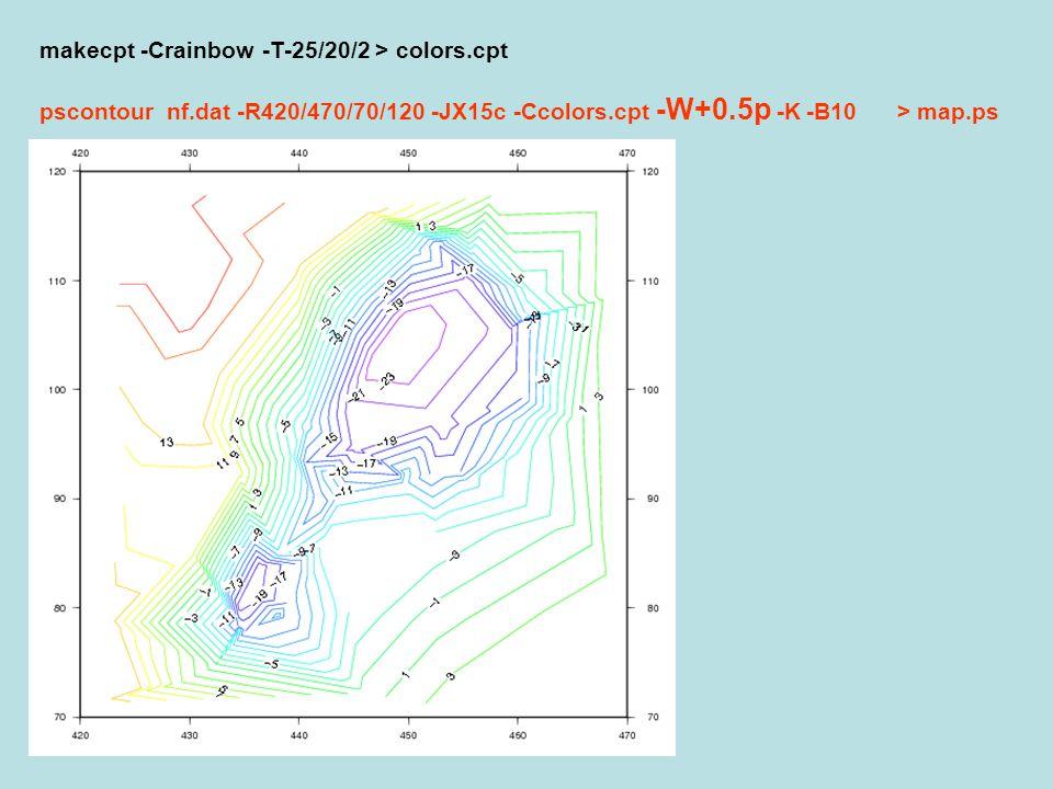 makecpt -Crainbow -T-25/20/2 > colors.cpt pscontour nf.dat -R420/470/70/120 -JX15c -Ccolors.cpt -W+0.5p -K -B10 > map.ps
